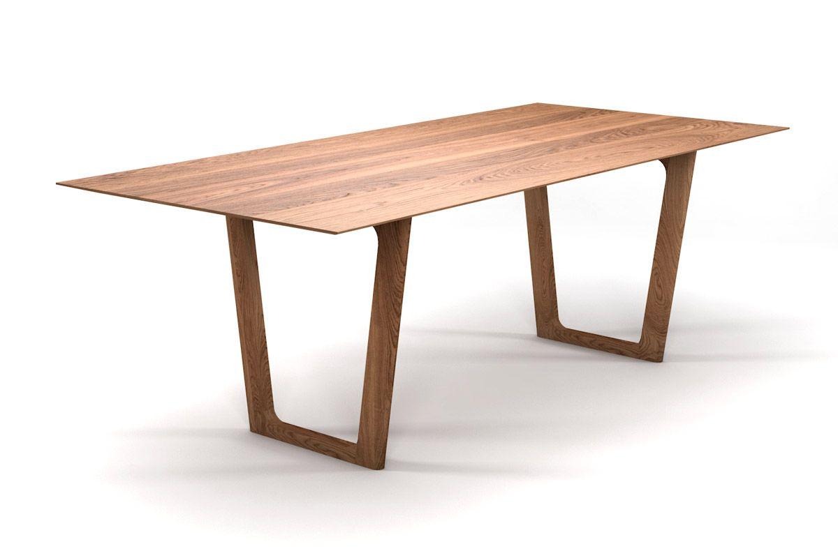 Schweizer Kante Eiche Esstisch nach Maß mit Tischkufen aus Massivholz