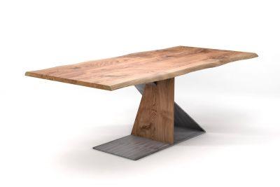 Moderner Tisch Eiche massiv nach Maß mit Baumkante und Mittelfuß Gestell