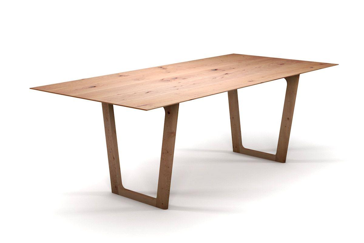 Holztisch massiv nach Maß mit Schweizer Kante und Holzkufen-Tischgestell