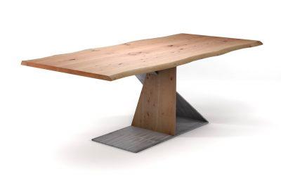 Designer Esstisch aus Buche mit Baumkanten und Mittelfuß Tischgestell