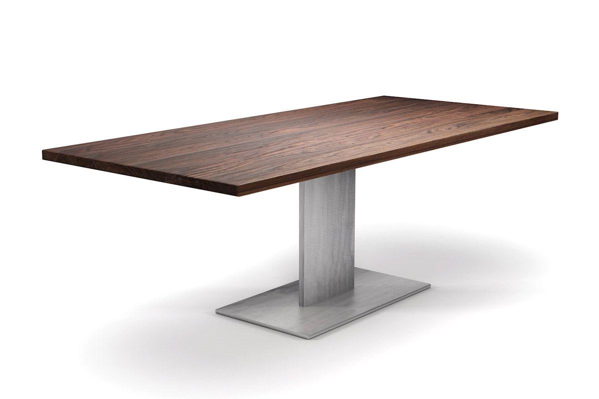 nussbaum esstisch mit stahlmittelfu nach ma holzpiloten. Black Bedroom Furniture Sets. Home Design Ideas
