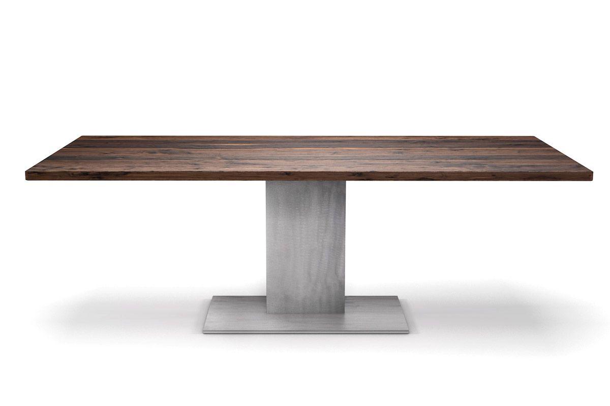 nussbaum tisch mit mittelfu gestell aus stahl nach ma holzpiloten. Black Bedroom Furniture Sets. Home Design Ideas