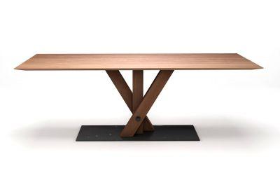 Schweizer Kante Tisch Buche nach Maß mit dreibeinigem Mittelfussgestell in Holz und Metall