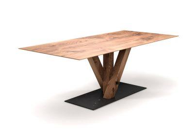 Eiche Tisch mit Schweizer Kante nach Maß Mittelfußgestell in Holz mit Bodenplatte Metall