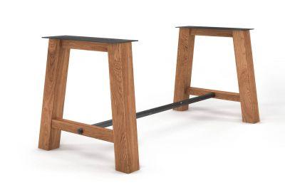 Holzuntergestell Esstisch nach Maß mit einer Metallstrebe aus Stahl