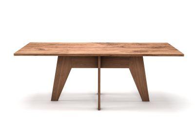 Massivholztisch aus Eiche 3cm Ast mit Mittelgestell aus Holz BA941-T
