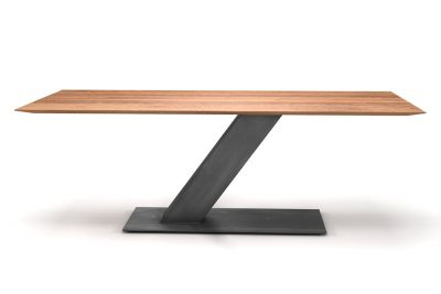 Design Esstisch aus Eiche mit Facettenkante und Mittelfuß aus Stahl AF125-T