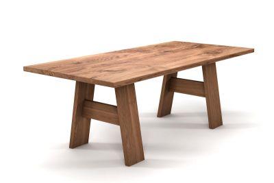 Vollholz Esstisch Eiche mit charaktervollem Astanteil und Holz Tischgestell