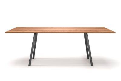 Minimal Design Esstisch Eiche astfrei mit Metall Tischbeinen nach Maß