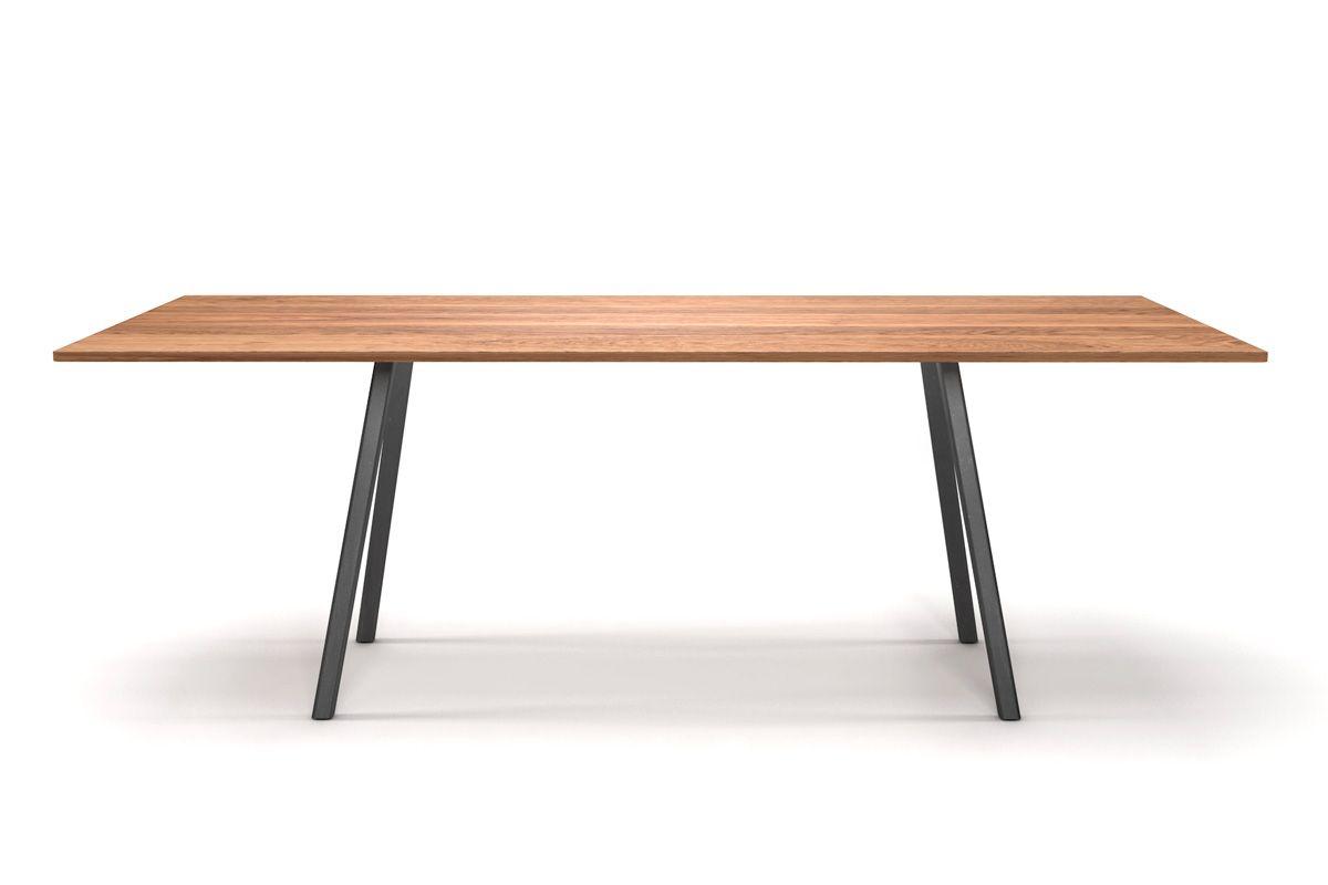 Holztisch eiche design  Minimal Design Esstisch Eiche mit Stahlgestell [HOLZPILOTEN]