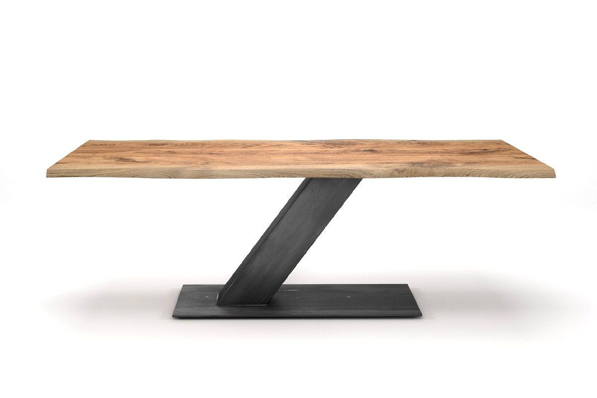 wildeiche esstisch mit baumkante industrial design holzpiloten. Black Bedroom Furniture Sets. Home Design Ideas