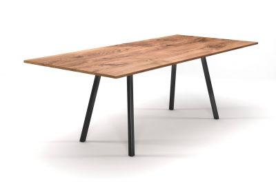 Esstisch Vintage aus Eiche 2cm Ast mit einem Stahl Tischgestell