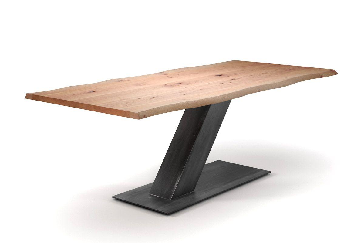 baumtisch modern buche stahl mittelfu holzpiloten. Black Bedroom Furniture Sets. Home Design Ideas