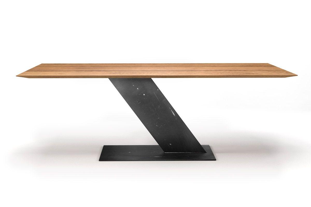Schweizer Kante Esstisch Eiche 3cm mit einem Mittelfuß Stahl Tischgestell