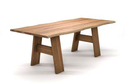 Baumtisch Eiche modern mit Holzbeinen