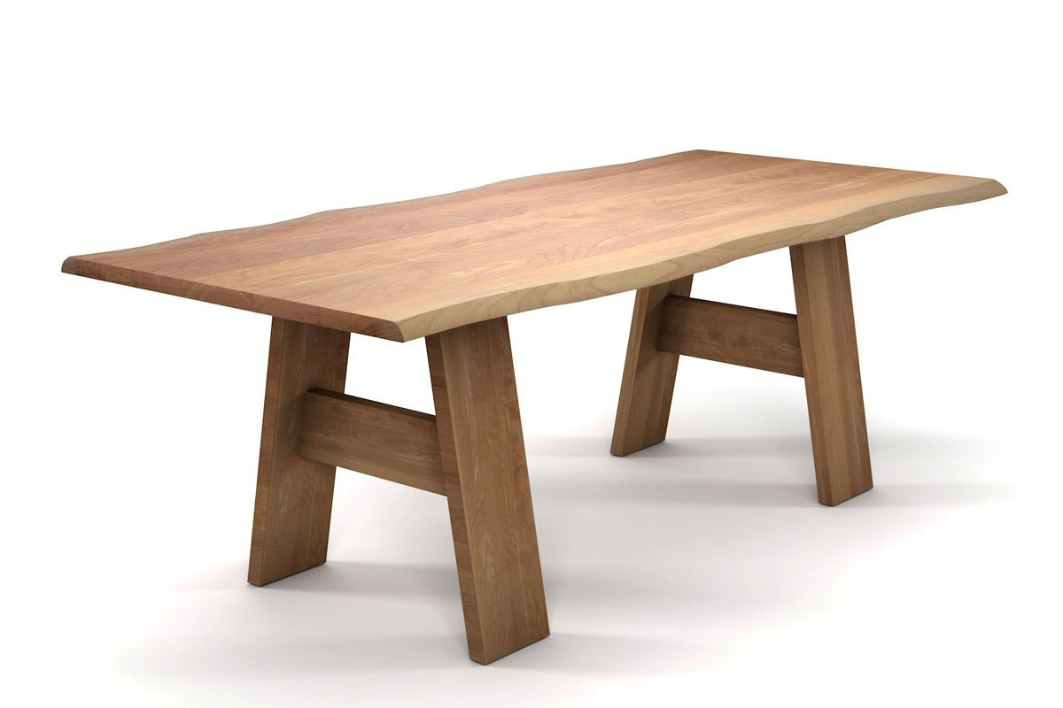 Baumkantentisch aus Buche mit Baumkanten und einem Vollholz Tischgestell