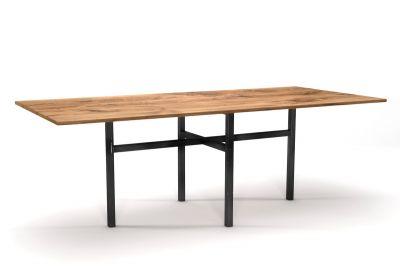 Vintage Esstisch Eiche nach Maß mit einem Tischgestell aus Stahl