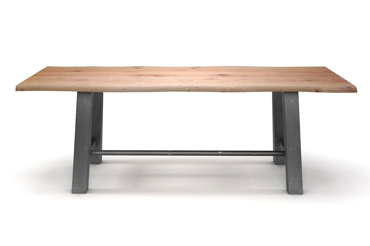 klassischer tisch aus buche mit baumkante und stahlgestell holzpiloten. Black Bedroom Furniture Sets. Home Design Ideas