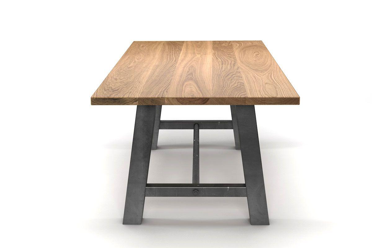 esstisch klassisch aus eiche mit metallbeinen holzpiloten. Black Bedroom Furniture Sets. Home Design Ideas