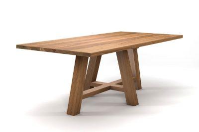 Landhaus Esstisch Eiche nach Maß mit einem Vollholz Tischgestell