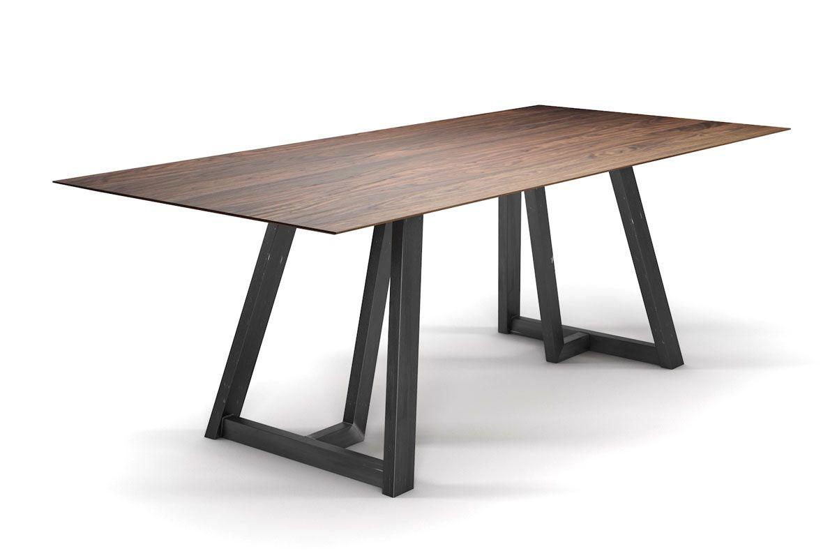 Schweizer Kante Nussbaumesstisch mit Stahlgestell im Industriedesign