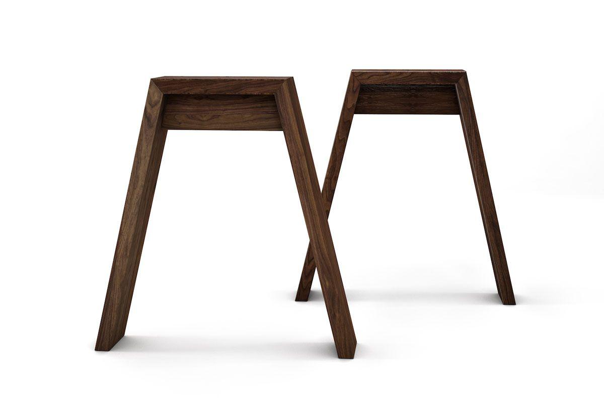 Tischgestell aus Holz Nussbaum nach Maß gefertigt in massiver Ausführung