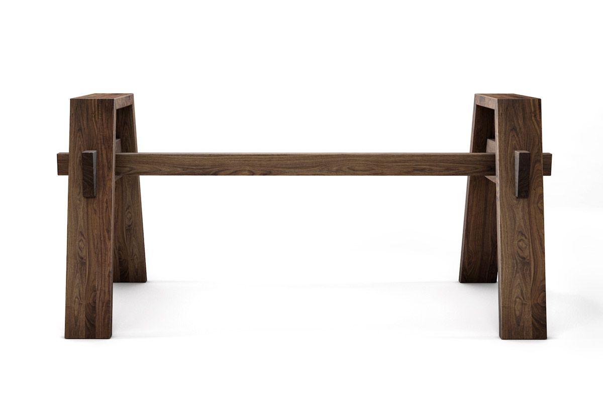 Selbsttragendes Tischgestell nach Maß aus Nussbaum massiv gefertigt