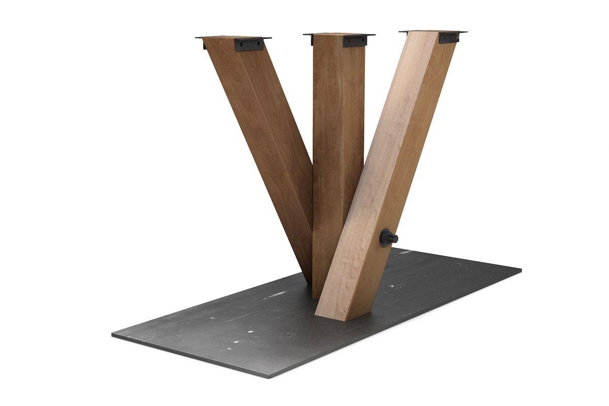 Tischgestell modern aus Massivholz Buche in Verbindungen mit purem Stahl