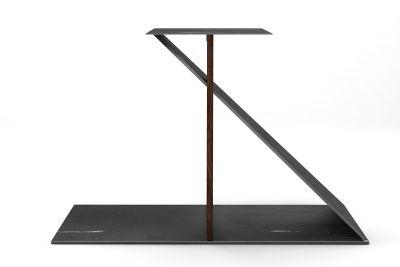 Design Tischgestell aus Nussbaum nach Maß massiv gefertigt mit Stahl