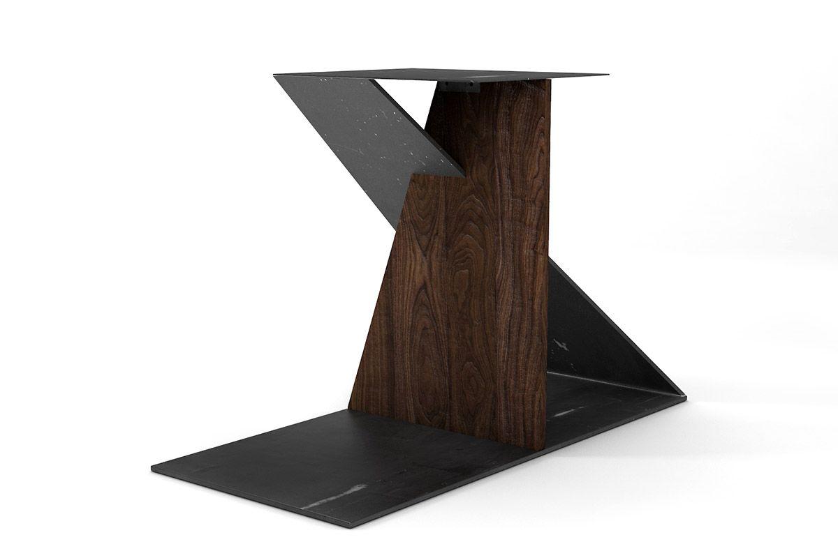 Design tischgestell aus nussbaum nach ma holzpiloten for Tischgestell design