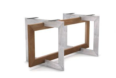 Futuristisch schön! Tischgestell selbsttragend aus dezenter Buche und hartem Stahl