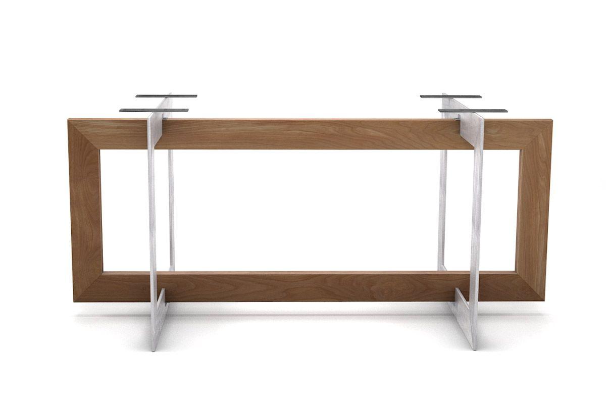 Tischuntergestell in selbsttragender Ausführung Buche in Verbindung mit Stahl