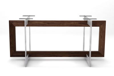 Selbsttragendes Tischuntergestell aus Eiche und Stahl nach Maß in futuristischer Optik