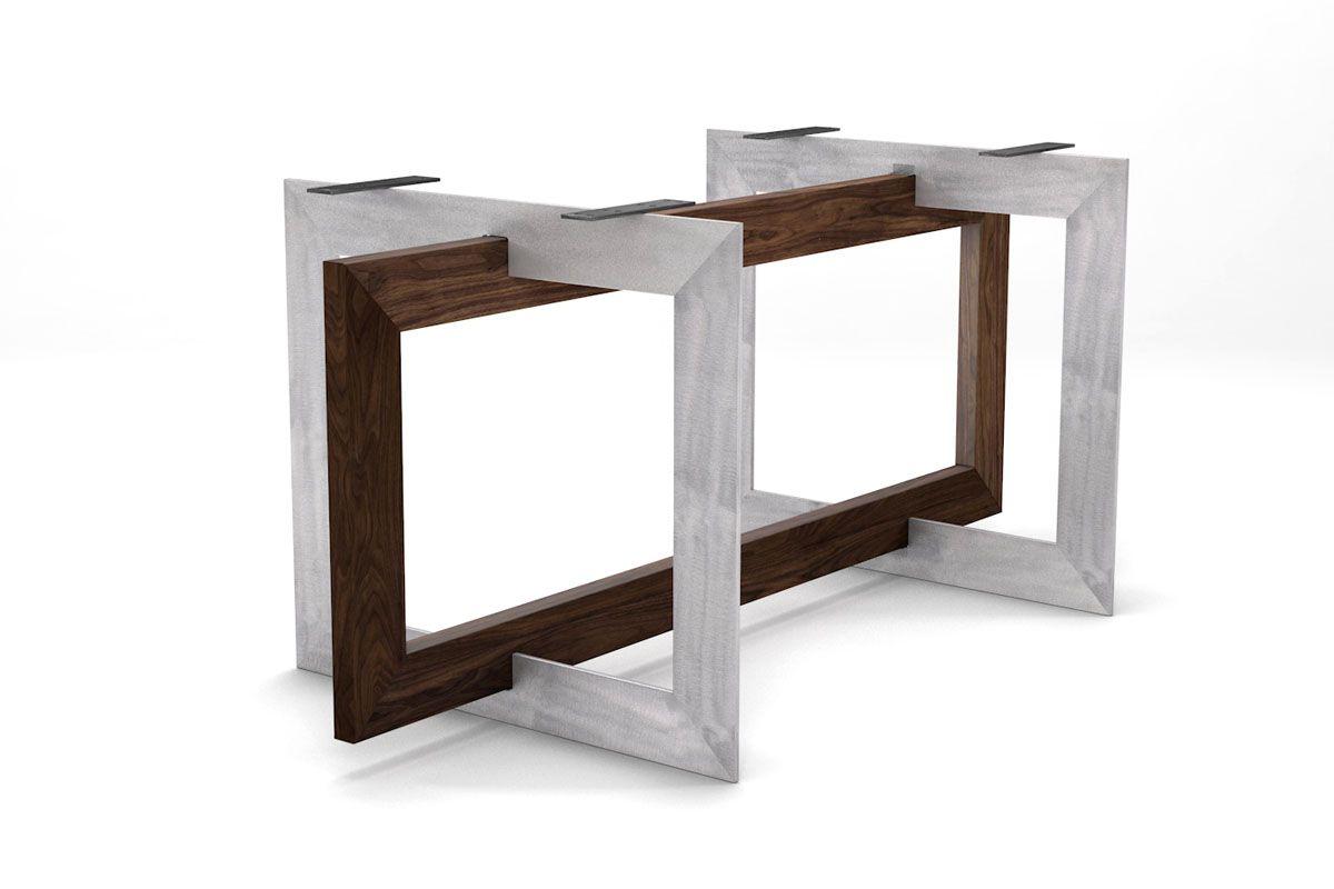 Futuristisches Tischgestell aus Holz und Stahl nach deinem Maß gefertigt