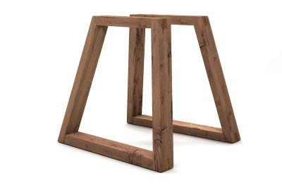 Holz-Tischkufen Eiche Altholz schräg 2er Set LH499