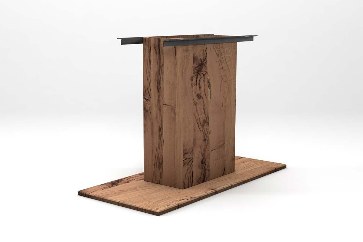 Klassische Mittelfuß-Tischsäule aus alter Eiche