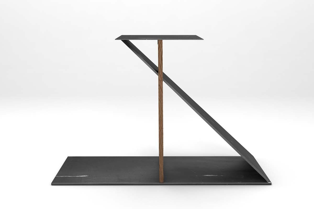 Tischuntergestell im Minimal Design aus Eiche Altholz und Stahl