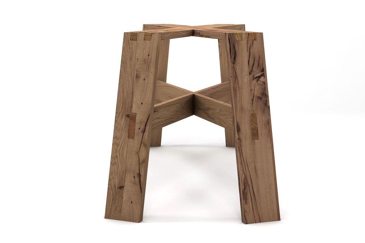 Massivholz Tischuntergestell alte Eiche auf Maß [HOLZPILOTEN]