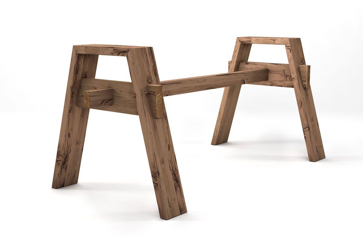 Tischuntergestell aus Holz alte eiche auf Maß in vollmassiver Fertigung