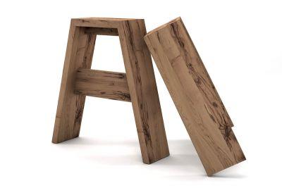 Vollmassive Tischbeine gefertigt aus alter Eiche im skandinavischen Design 2er set