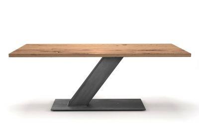 Alte Eiche Esstisch 4 cm im futuristischen Design mit Stahl Mittelfuß