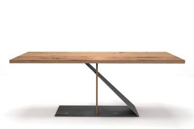 Alte Eiche Tisch 4 cm mit futuristischem Gestell aus Stahl und Holz
