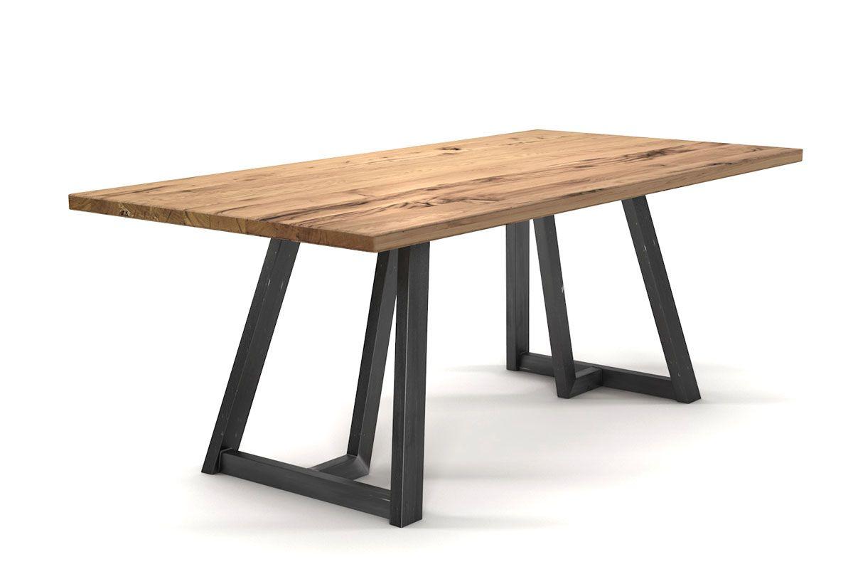 Esszimmertisch aus alter Eiche mit Stahlkufen im Factorydesign