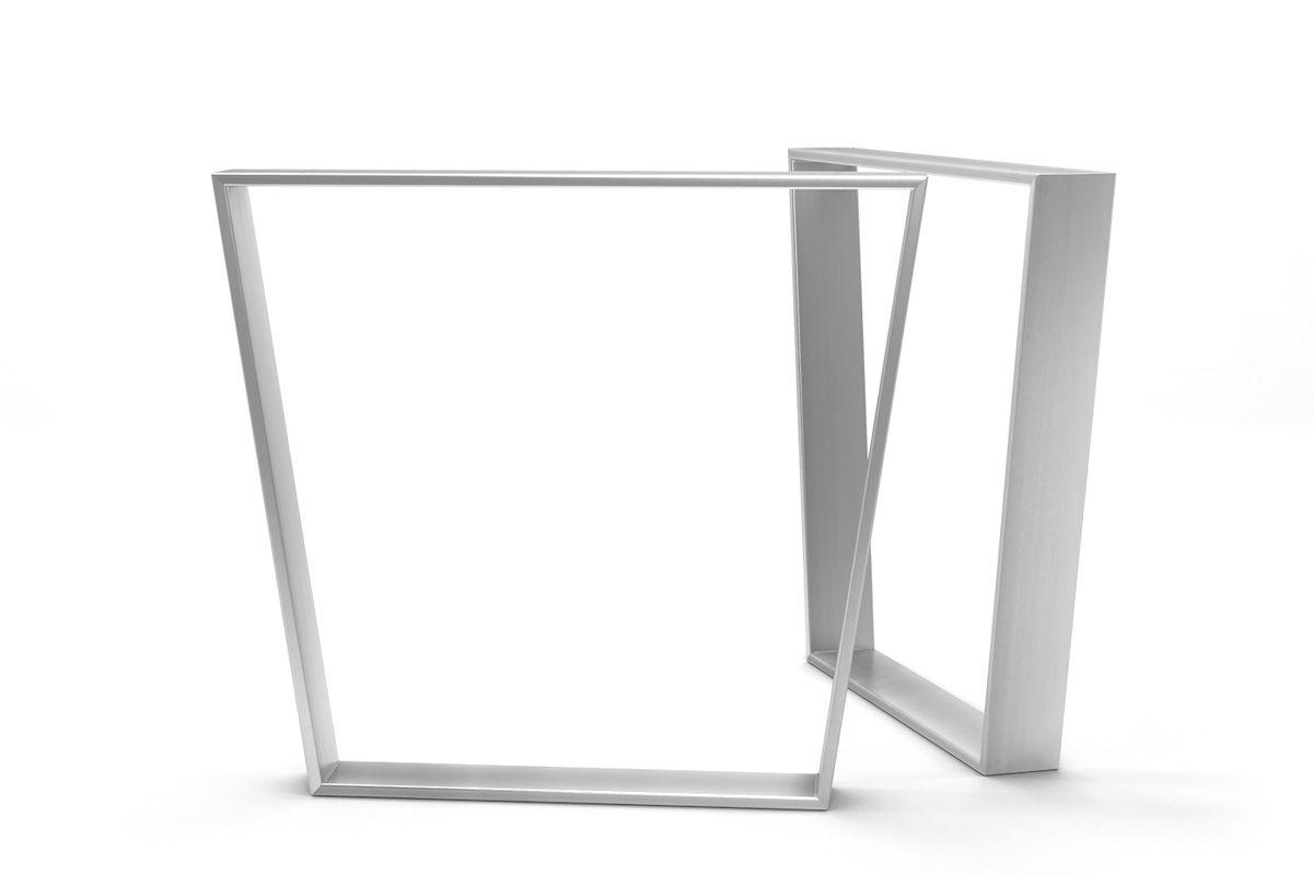 Trapezförmige Esstischkufen aus hochwertigem Edelstahl gefertigt