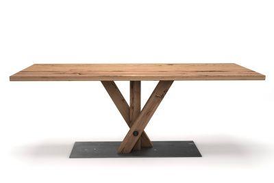 Eiche Altholz Esstisch mit coolem Fächerdesign nach Maß