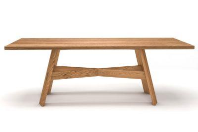 Holztisch Eiche astfrei Design made in Germany mit Massivholz Untergestell