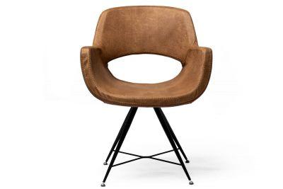 Essstuhl mit Sitzschale modern Frontansicht mit Leder bezogen