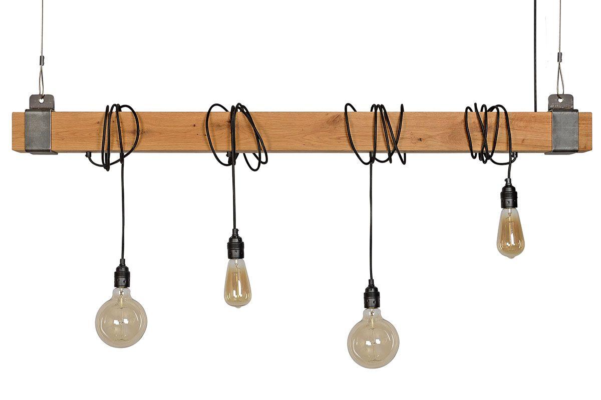 Holz Lampe 135cm, stylische Kombination aus Holz und Stahl