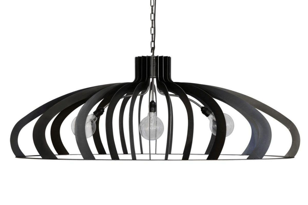 Ovale Deckenlampe aus schwarzem Stahl 120cm, Modell CAT