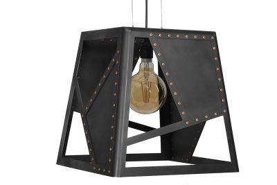 Industriedesign Deckenlampe aus Rohstahl und Kupfer